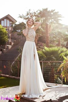 Find More Wedding Dresses Information about Stunning Lace Wedding Dress Summer Beach Wedding Dress Sexy High Low Bridal Gown High Collar Chiffon Beach Wedding Gown 2014,High Quality gowns maternity,China wedding album Suppliers, Cheap wedding gown classic from Fashion Streets on Aliexpress.com
