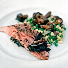 Grilled Sockeye Salmon with Fava Bean, White Corn, and Wild Mushroom Succotash - Grilled Seafood - Coastal Living Mobile Grilled Seafood, Grilled Salmon, Sockeye Salmon Recipes, Succotash Recipe, Steak Menu, Smoking Recipes, Eating Light, Fava Beans, Seafood Recipes