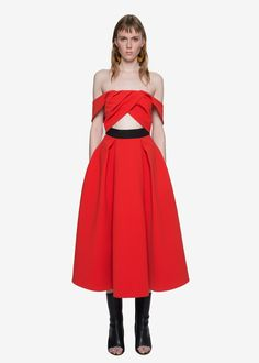 Self-Portrait ayelette cut-out double crepe dress in red