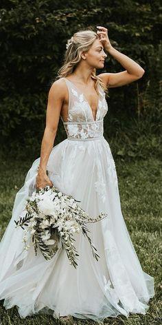 27 Chic Bridal Dresses: Styles & Silhouettes ❤ bridal dresses boho a line dee. 27 Chic Bridal Dresses: Styles & Silhouettes ❤ bridal dresses boho a line deep v neckline floral Wedding Robe, Sexy Wedding Dresses, Bridal Dresses, Wedding Gowns, Bridesmaid Dresses, Maxi Dresses, Lace Wedding, Elegant Dresses, Floral Wedding