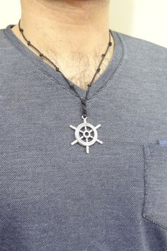 Excited to share the latest addition to my #etsy shop: Men Silver Ship Wheel Necklace, Black Necklace, Men Nautical Necklace, Black Necklace, Men Necklace, Mens Silver Necklace, Handmade Necklaces, Handmade Jewelry, Etsy Handmade, Handmade Items, Multi Strand Necklace