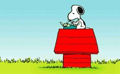 snoopy with his typewriter
