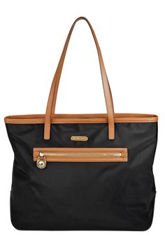Large EW Tote in Black This authentic Michael Kors handbag is made of black  nylon with a brown ac9dd5294ce0a