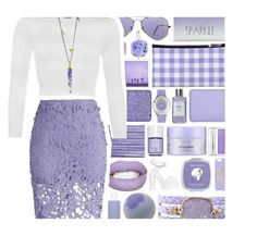 """Purple Crystal"" by xgracieeee ❤ liked on Polyvore featuring Nly Shoes, Versace, Alexandra Beth Designs, Alterna, Clinique, shu uemura, bkr, Swarovski, MAC Cosmetics and Ray-Ban"