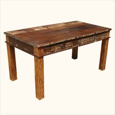 Unique Reclaimed Wood 6 Seater Rustic Dining Room Table Furniture traditional