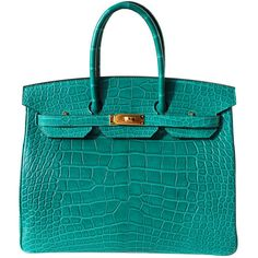 35cm Hermes Matte Malachite Alligator Birkin Handbag (1,513,515 EGP) ❤ liked on Polyvore featuring bags, handbags, purses, hermes, borse, blue bag, alligator handbags, hermes bag, hand bags and purse bag