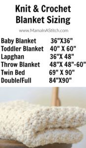Knit and Crochet Blanket Sizing