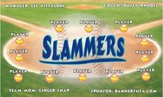 Slammers digitally printed vinyl Softball sports team banner. Made in the USA and shipped fast by Banners USA. http://www.bannersusa.com/art/templates_2/digital/banners/DSB_banners.php