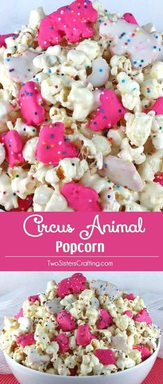 Circus Animal Popcorn - sweet and salty popcorn, covered with marshmallows and yummy Circus Animal Cookies just for fun! A great popcorn treat that is so easy to make! A delicious snack and so very pretty with the sprinkles and the pink and white cookies. Brownie Desserts, Oreo Dessert, Mini Desserts, Easy Desserts, Yummy Snacks, Delicious Desserts, Snack Recipes, Yummy Food, Snacks Ideas