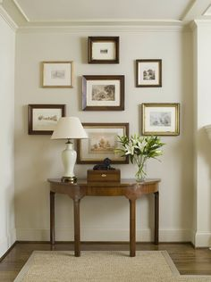 Phoebe Howard: Elegant, traditional foyer in monochromatic color scheme. Phoebe Howard: Elegant, traditional foyer in monochromatic color scheme. Framed collection of print Foyer Decorating, Interior Decorating, Interior Design, Decorating Ideas, Design Interiors, Picture Arrangements, Photo Arrangement, Deco Design, New Wall
