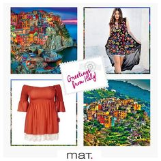 Postcard with greetings from Italy! • Η έμπνευση για τα #matfashion outfits του Σαββατοκύριακου έρχεται από το Cinque Terre της γειτονικής Ιταλίας, με τα πολύχρωμα σπίτια που αλλάζουν χρώμα στο φως του ήλιου! (Κωδικοί 651.7211 & 651.1243) #summer2016 #collection #paisley #boho #inspiration #weekendoutfit #realsize #plussizefashion #ootd #fashion #travelstyle #italy