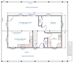 24 x 36 floor plans nominal size 24 x 52 actual size for 24x40 2 bedroom house plans