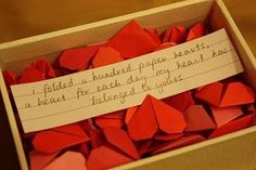 Box of hearts for Anniversary or Valentines day ❤️ take it a step further and write sweet messages on each heart