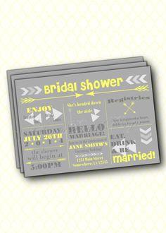 Fun & Festive Bridal Shower Printable Digital Invitation.  Yellow and Gray Wedding Shower Invite. - http://www.funhunter.com/fun-festive-bridal-shower-printable-digital-invitation-yellow-and-gray-wedding-shower-invite.html