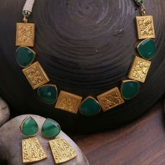 GABRIELLE'S AMAZING FANTASY CLOSET | Necklace & Earrings -  Pear-Shaped, Faceted Jadeite interspersed 18k Yellow Gold Plaques