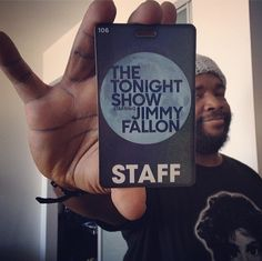 Questlove with his Tonight Show badge.