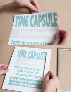 DIY | time capsule guest book. This would have been an awesome idea.
