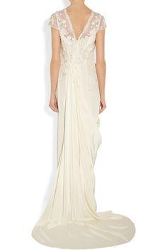 Temperley London|Laelia floral-appliquéd silk crepe de chine gown|NET-A-PORTER.COM
