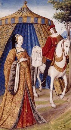 Epistulae Heroidum, Dejanira dona a suo marito Ercole la tunica intrisa di sangue del centauro Nesso, 1496-98, miniature, Bibliothèque nationale de France (BNF).