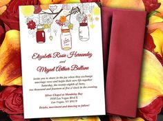 Mason Jar Wedding Invitation Template - Autumn Red Orange Yellow Brown - Rustic Wedding Invitation - Love Bird DIY Invitation Template  by PaintTheDayDesigns