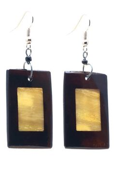 "African 2-Tone Horn Earrings-(Brown/Gold)-Womens.  Stainless steel hooks.  Handmade earrings made in Africa.  Hangs 2.5"" long each.  Great unique gift!  Please review shipping charges and details."