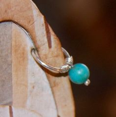 Small Cartilage Earrings Belly Button Ring Turquoise Belly Helix Hoop, Cartilage Hoop, Cartilage Earrings, Hoop Earrings, Belly Button Jewelry, Belly Button Rings, Heart Nose Rings, Nose Hoop, Turquoise Rings