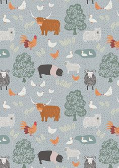 Country Life Blue - Lewis and Irene fabric