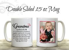 Custom Photo Novelty Coffee Mug with Grandma Dictionary Definition Ceramic 15 oz Coffee Cup - Personalized with Your Picture - Mother's Day Keepsake Gift - Handmade in the USA. Custom Photo Grandma Coffee Mug. Our coffee mugs are handmade in our workshop and make the perfect gift for Mother's and Father's Day, Valentine's Day, Christmas, Birthdays, Anniversaries, Retirement Parties, Boss's Day, Graduations...or just for the fun of it! Coffee addicts, we have you covered! We use the larger…