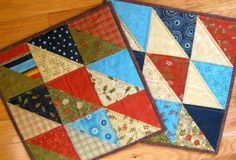 Quilted Mug Rugs  Snack Mats  Moda Christmas by SallyManke on Etsy,
