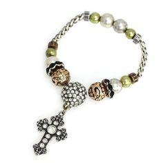 Cross Charm Bracelet; Burnished Tri tone Metal; Clear Rhinestones; Cross Dangle Charm; Eileen's Collection. $16.99