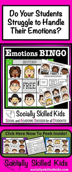 Emotions BINGO! A Great Way To Help Your Students Better Understand And Mangage Their Emotions.