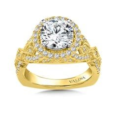 Diamond Halo Engagement Ring Mounting in 14K Yellow Gold (.50 ct. tw.) For more information on purchasing this ring please contact us at 570-383-8339 or check us out at www.georgeandcodiamonds.com