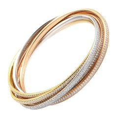 Carter Trinity Diamond Multicolor Gold Pave Bangles From a unique collection of vintage bangles Diamond Bracelets, Diamond Jewelry, Bangle Bracelets, Bracelet Or, Diamond Brooch, Silver Bracelets, Gold Jewelry, Grace Kelly, Cartier