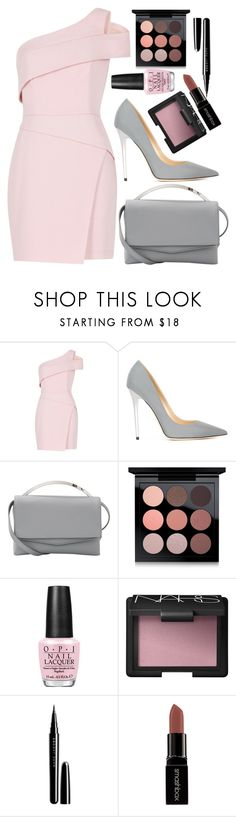"""Pink and Grey"" by ethenknowsfashion on Polyvore featuring BCBGMAXAZRIA, Jimmy Choo, Eddie Borgo, MAC Cosmetics, OPI, NARS Cosmetics, Marc Jacobs and Smashbox"