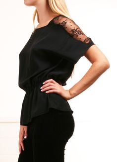 Parker black blouse with lace panels