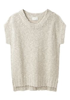 Slouchy, open knit linen pullover with short sleeves, ribbed trim  side vents at hem.