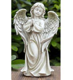 Peaceful angel for your garden, her head bowed in prayer, she wears a rose halo upon her head. Angel Garden Statues, Outdoor Garden Statues, Garden Angels, Cherub Tattoo, Mini Zen Garden, Zen Garden Design, Angel Sculpture, Plaster Art, Creative Arts And Crafts