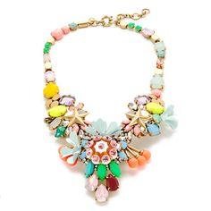 "You know that expression ""go big or go home""? Yep, it applies to necklaces too. <ul><li>Length: 15"" with a 2 1/4"" extender chain for adjustable length.</li><li>Brass, epoxy stone, glass stone, acrylic bead.</li><li>Light gold ox plating.</li><li>Import.</li><li>Jewelry Design © 2014 J.Crew International, Inc.</li></ul>"