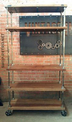 New Kitchen Industrial Chic Pipe Shelves Ideas Metal Pipe Shelves, Industrial Pipe Shelves, Industrial Chic, Pipe Shelving, Galvanized Pipe Shelves, Pantry Shelving, French Industrial, Kitchen Industrial, Wood Shelves