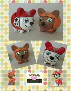 Paw patrol Pottery Painting, Ceramic Painting, Pig Bank, Personalized Piggy Bank, Color Me Mine, Mixed Media Tutorials, Paw Patrol Party, Altered Art, Baby Boy