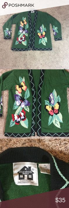 """Butterfly storybook knits cardigan Women's Story Book Cardigan. Size 1X. Butterfly Print. Green/Multi-Colored. Approx Measurements Laying Flat: Pit to Pit 23.5"""" Pit to Bottom Hem 20"""" Gently Used. storybook knits Sweaters Cardigans"""