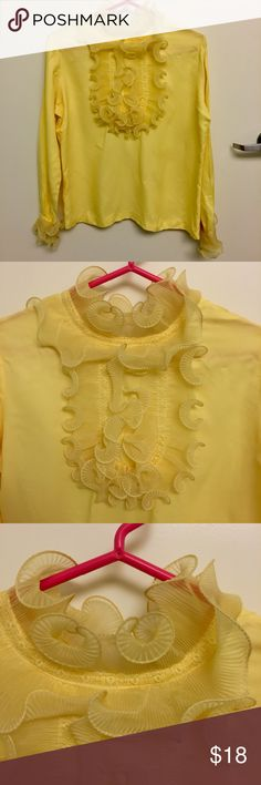 💛 Vintage Yellow Ruffled Bib Blouse 💛 Check out the great reference photos for fun ways to style this blouse! 1970s / 1980s Victorian style lace high-necked bib blouse. Wild and fun design on the neck and cuffs is very structural. Shirt buttons up the back and the top two buttons are missing-- I can probably send some replacement buttons if needed. Great condition overall but note the missing buttons and some small red marks on one cuff. Great for a Halloween costume-- 9 to 5, 80s…