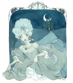 Cinderella drawn in a somewhat 18th century style