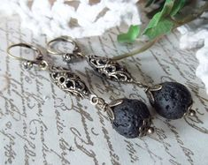 Antiqued Brass Filigree Connector & Lava Bead by MockiDesigns