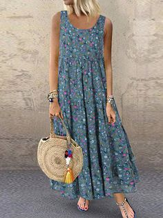 hot sale bohemian floral print sleeveless plus size maxi dress - The world's most private search engine Floral Print Maxi Dress, Boho Dress, Print Maxi Dresses, Vêtement Harris Tweed, Bohemian Mode, Bohemian Fashion, Vestidos Vintage, Plus Size Maxi Dresses, Dresses Dresses