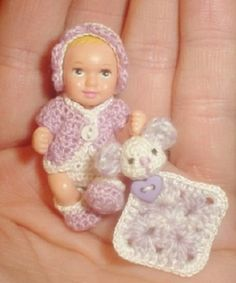 "Handmade Crochet Diaper 5pc set for 1& 3/4"" Newborn Nikki Barbie Happy Family baby $25.00"