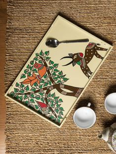 Madhubani Art - Painted Wooden Tray– The India Craft House Pichwai Paintings, Indian Art Paintings, Abstract Paintings, Madhubani Art, Madhubani Painting, India Crafts, Home Crafts, Worli Painting, Fabric Painting