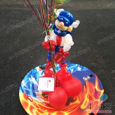 Captain America balloon twisting sculpture. #partywithballoons