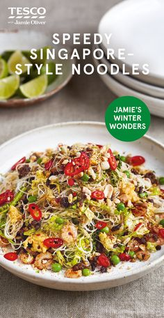 Try Jamie Oliver's speedy take on fiery Singapore noodles with tender beef and prawns for a delicious dinner. Find lots more Healthy recipes at Tesco Real Food. Healthy Meals For Two, Healthy Dinner Recipes, Gourmet Recipes, Vegetarian Recipes, Cooking Recipes, Healthy Food, Fish Recipes, Asian Recipes, Beef Recipes