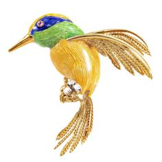 Yellow Gold Enamel and Precious Gemstone Hummingbird Brooch | From a unique collection of vintage brooches at https://www.1stdibs.com/jewelry/brooches/brooches/